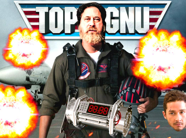 Richard stallman in a photo edited with a reference to Top Gun movie spiced up with some explosions